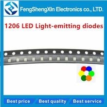 100pcs/lot  1206 LED Highlighting SMD LED light-emitting diodes  RED  White yellow blue green orange
