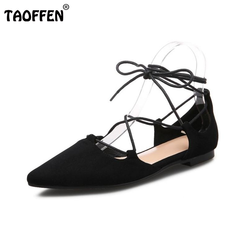 TAOFFEN Real Leather Ladies Flats Sandals Cross Strap Summer Shoes Women Party Catwalk Vacation Female Footwears Size 34-39 spring summer 2016 fashion catwalk models hair ball diamond flower tassels shui ethnic flat cross strap sandals women34 43 red