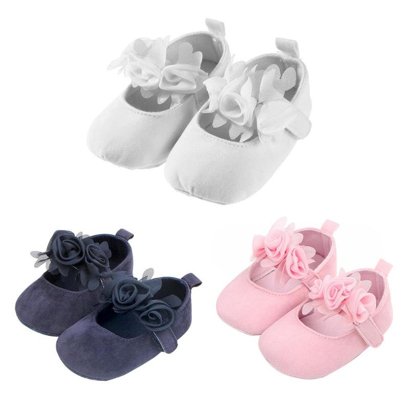 Cute Newborn Baby Girls First Walkers Soft Soles Solid Color Anti-Slip PU Stickers Flowers Shoes Infants First Walkers for 0-18M