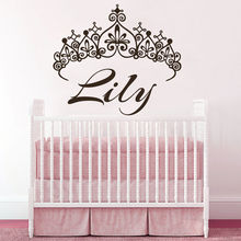 YOYOYU Wall Decal Princess Crown Vinyl Room Decoration Custom Personalized Name Sticker Art Removeable Poster Mural YO350