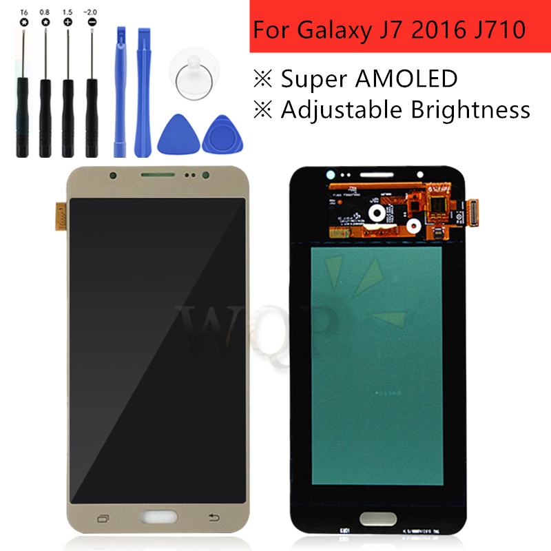 Super AMOLED For SAMSUNG GALAXY J7 2016 J710 LCD Display Touch Screen Digitizer Replacement Parts J710F