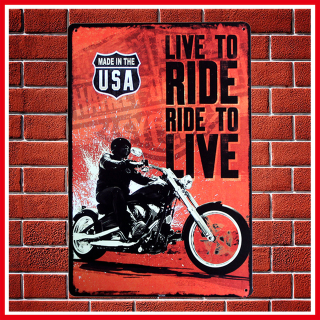 New Vintage LIVE TO RIDE Motorcycles Metal Signs Home Decor Vintage Tin  Signs Pub Vintage Decorative