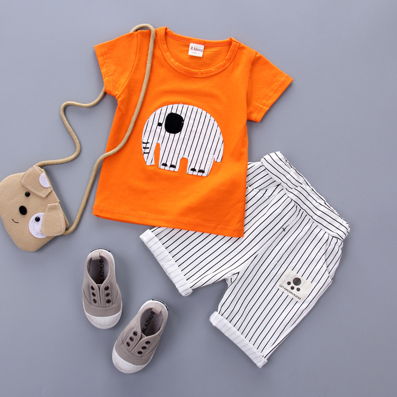 New Summer new born baby boys girls elephant cartoon clothing baby boy clothes Set Short-sleeved baby girl clothes SKB30