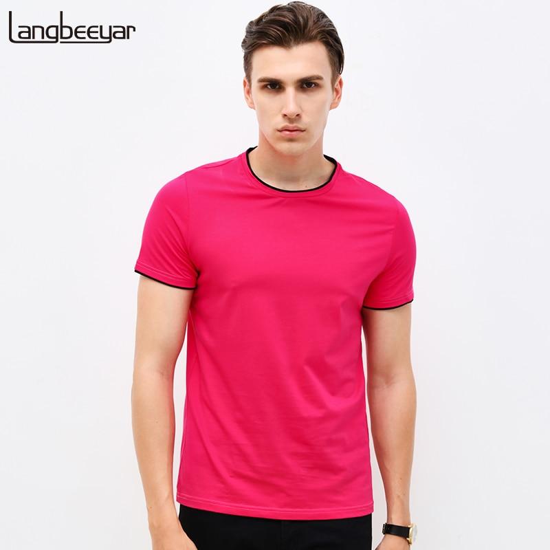 Mens T Shirts Fashion 2017 Summer O Neck Slim Fit Short Sleeve T Shirt Men Mercerized