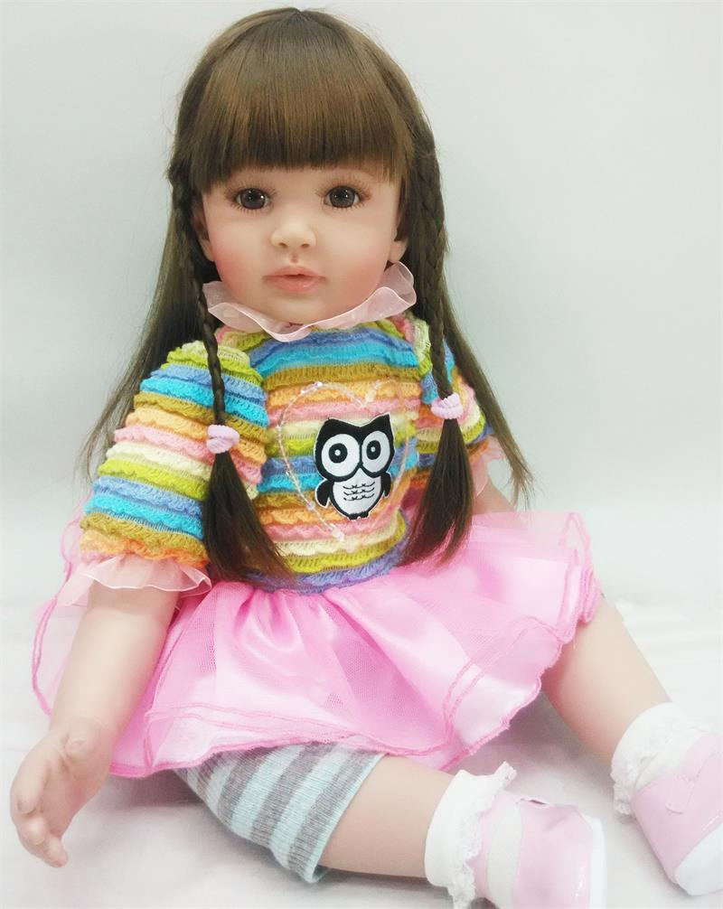 "Pursue 24""/60 cm Adorable Colorful Owl Cloth Body Vinyl Silicone Reborn Toddler Princess Girl Baby Doll Toys for Children Girls"