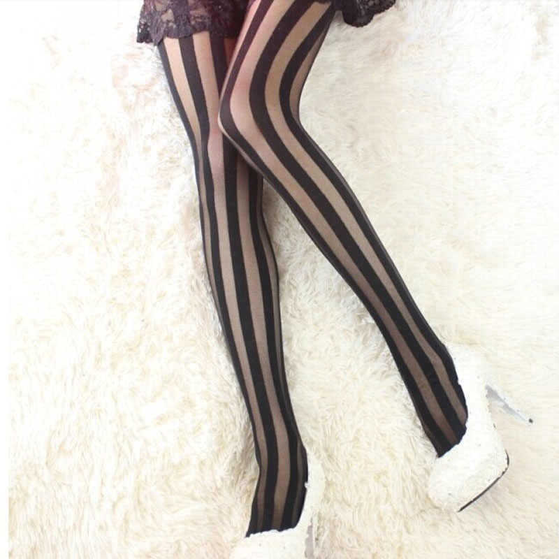 cbc58f1f67e Sexy Vertical Stripe Stockings Black Women Girl Gothic Punk Pantyhose  Stockings Tights New Arrival