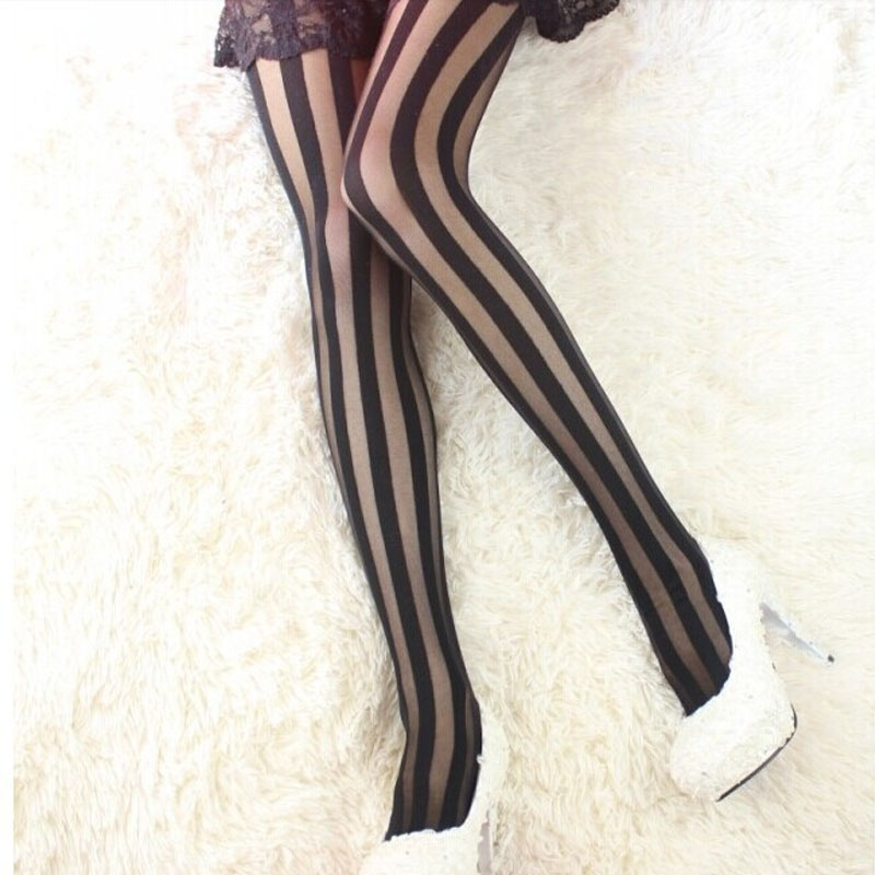 Sexy Vertical Stripe Stockings Black Women Girl Gothic Punk Pantyhose Stockings Tights New Arrival