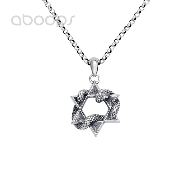 Vintage 925 Sterling Silver Star of David & Snake Pendant Necklace for Men Women Free Shipping