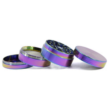 Wholesale Ice Blue Herb Grinder 50mm 54mm 61mm Grinder Zinc Alloy 4 Layers Tobacco Smoke Crusher Rainbow Color