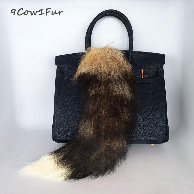 New Fur tail keychain Super Large 40cm Big handbag accessories Sun Fox Real Fur Keychain Women Bags tassel Car key Ring jeweler