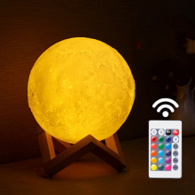 16 Colors 3D Print Moon Lamp Colorful Change Remote Control Usb Charging Led Night Light Home Decor Creative Gift