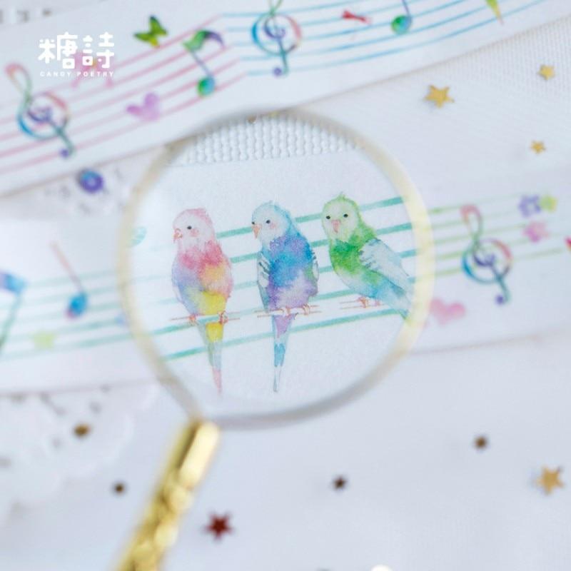 3cm X 5m Forest concert Beautiful washi tape album Scrapbook Adhesive decor paper tape diy Handmade Gift Card Art craft sticker