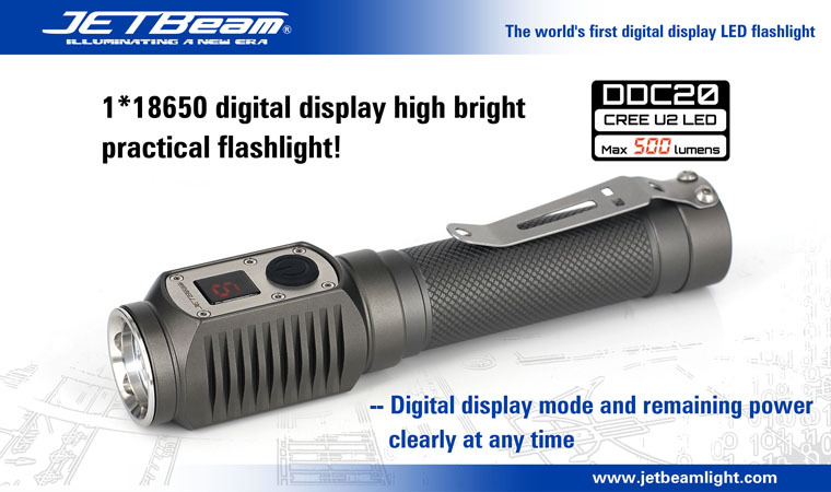 Free Shipping Original JETBEAM DDC20 Cree XM-U2 LED 500 lumens flashlight daily torch Compatible with 18650 battery 3800 lumens cree xm l t6 5 modes led tactical flashlight torch waterproof lamp torch hunting flash light lantern for camping z93