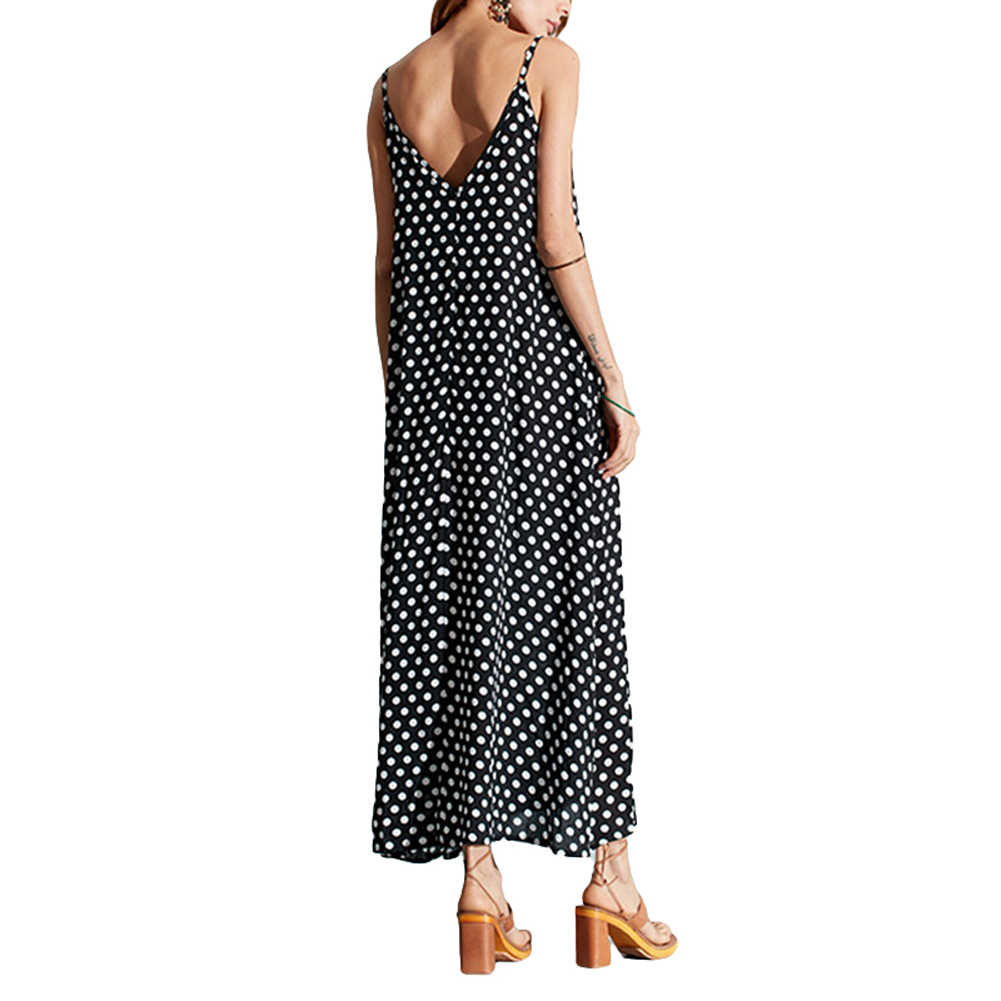 ... 5XL Plus Size Summer Dress 2018 Women Polka Dot Print V Neck Sleeveless  Sundress Loose Maxi ... 90afb3bf7632