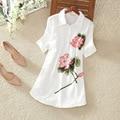 2017 Лето Национальный Длинный Рубашка с короткими рукавами Вышитые Рубашки Хлопка Которых Свободные Белье Блуза