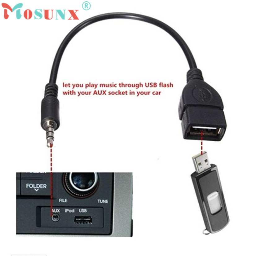 Factory price Hot Selling 3.5mm Male Audio AUX Jack to USB 2.0 Type A Female OTG Converter Adapter Cable Drop Shipping Wholesale