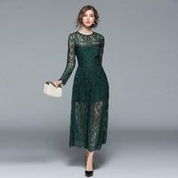 Green Color Mesh Lace Evening Party Dress Women 2018 Spring Autumn Vintage Sexy Hollow Out Dresses