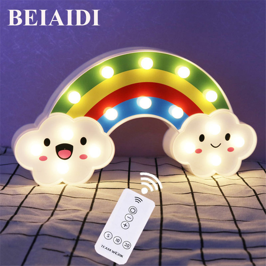 BEIAIDI Smile Face Cloud Rainbow Led Night Light Dimmable Cartoon Night Lamp With Remote Baby Bedside Lamp Kids Toy Gift Light 2pcs 2 2 metal wheel hubs for 1 10 scale rc crawler car nv widen version outer beadlock wheels diameter 64 5mm width 43 5mm