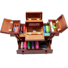 Natural wood sewing box Polyester Sewing thread Needlework Knitting Patch Organizer Storage box sewing case with accessories