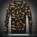 2017 de inverno Da Marca Casual Camisola Homens Pullovers Jacquard Folhas de Tricô manga comprida o pescoço fino Malha Camisolas tamanho 3XL 4XL