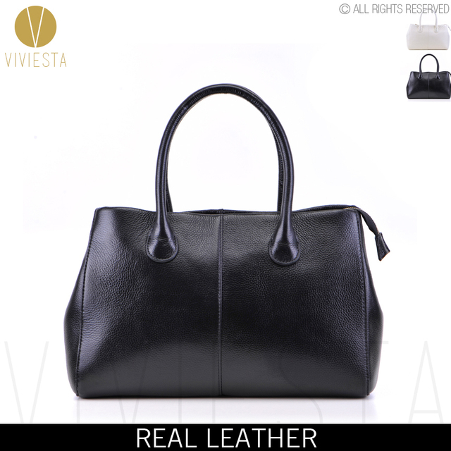 f955b7b2f0 GENUINE REAL LEATHER FORMAL SHOULDER BAG - Women s Ladies Black White  Designer Business Work Soft Briefcase