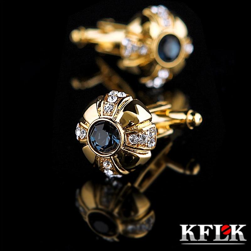 KFLK Bijoux shirt De Mode bouton de manchette pour hommes Marque Cristal Manchette lien Mâle De Luxe De Mariage Bouton Or de Haute Qualité Livraison Gratuite
