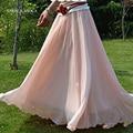 Nuevas Mujeres de la moda de la Cintura de Color Sólido Super Gran 7 Metros Gran Hem Largo Maxi Falda de Gasa