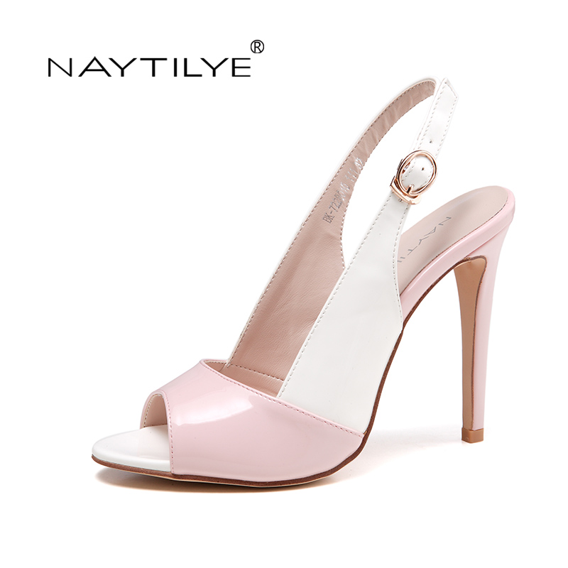 Woman Shoes Summer 2017 Pink PU Leather High quality High heels Fashion pumps for women 36-41 Free shipping NAYTILYE  newest summer style woman pumps shoes high quality ladies high heels basic shoes for party free shipping size 37 43