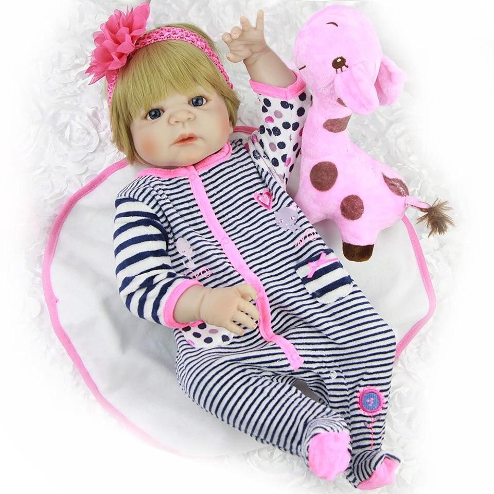23 ''Silicone pieno Bambole Del Bambino Rinato Realistica Ragazza bebe Bambole Lavabile Boneca Reborn Realistica bambini Compagni di gioco Bel Regalo Giocattoli