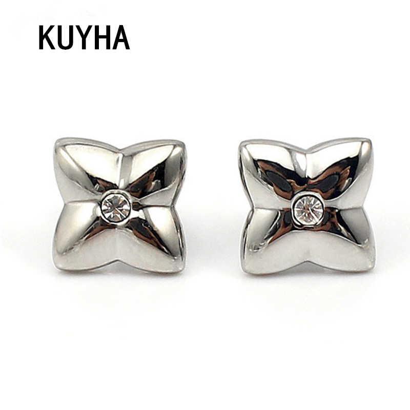 Small cute Spalking Crystal Ear Jacket Stud Earrings for Women Jewelry Double Sided four Star Earrings Flower Earrings For Girls