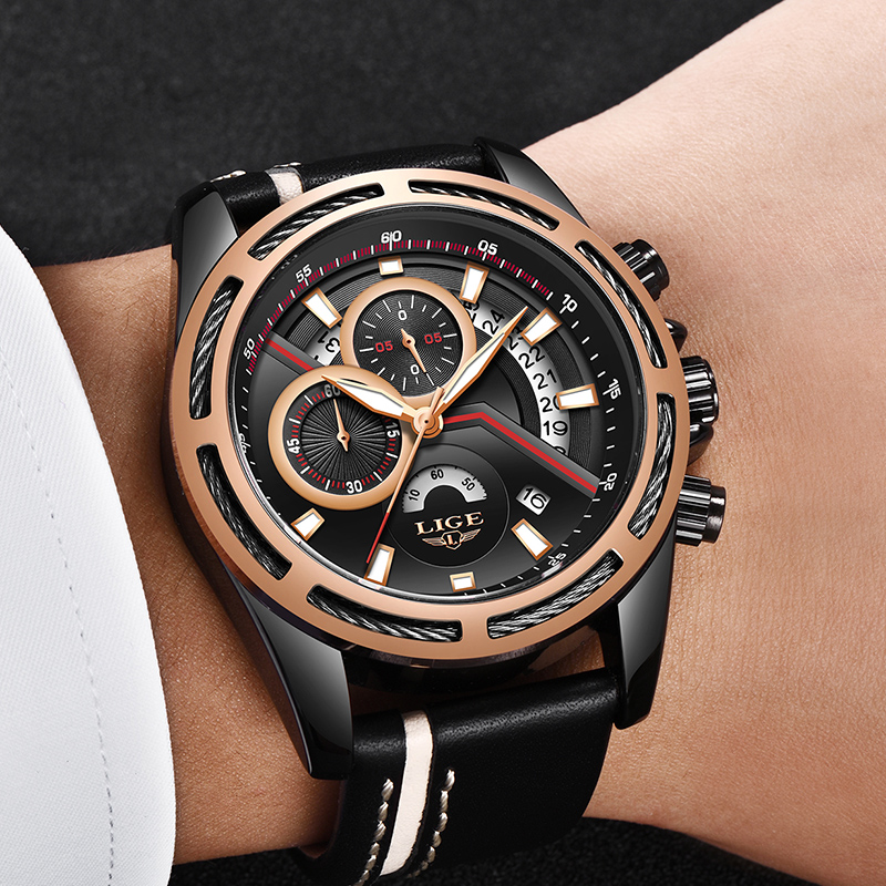 Mens Watches LIGE 2018 Brand New Fashion Casual Luxury Model Classic Military Swag Men Leather Gift Quartz Watches