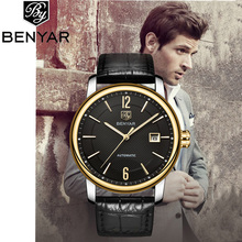 лучшая цена BENYAR Men's Watches Mechanical Watch Luxury Business Brand Leather Watch Calendar Waterproof Men Automatic Watch Montre Homme