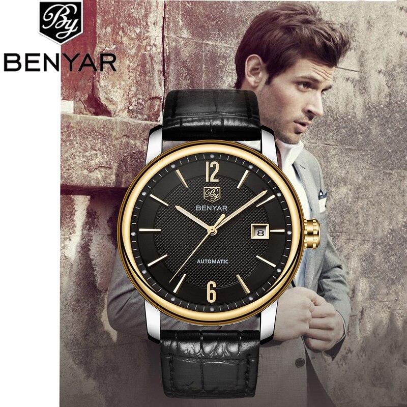 BENYAR heren Horloges Mechanische Horloge Luxe Merk Lederen Horloge Kalender Waterdicht Mannen Automatische Horloge Montre Homme-in Quartz Horloges van Horloges op  Groep 1