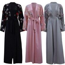 Abaya Floral Kimono Cardigan Dubai Kaftan islámico musulmán vestido Hijab Abayas ropa islámica turca para mujer Oman Djelaba Femme