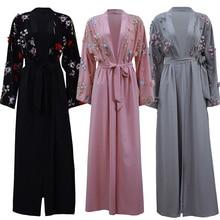 ดอกไม้Abaya Kimono CardiganดูไบKaftanอิสลามมุสลิมHijabชุดAbayasตุรกีเสื้อผ้าอิสลามสำหรับผู้หญิงโอมานDjelaba Femme