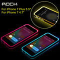 Rock semi-transparente brillante serie llamando led luz de aviso case para iphone 7 plus para iphone 7 case tpu transparente de la pc