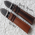 Handmade 20mm 22mm 24mm Brown Calf Genuine leather Men Women Watch Strap, Retro General Watchband With Special Buckle Clasp