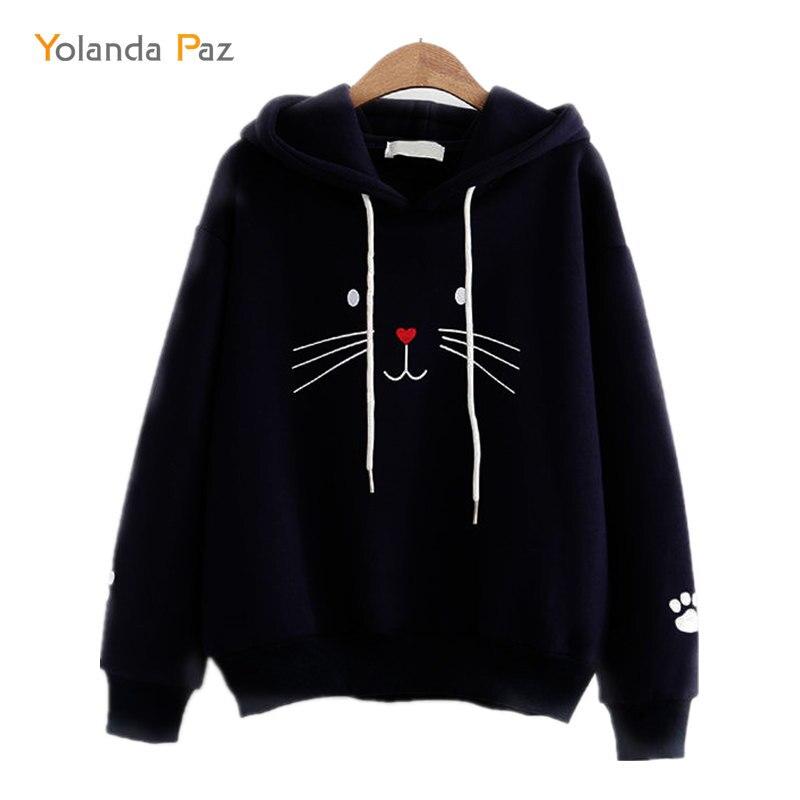 Yolanda Paz Women Sweatshirt Long Sleeve 2019 Winter Pullover Loose Women Hoodies Sweatshirt cute cats print hoody