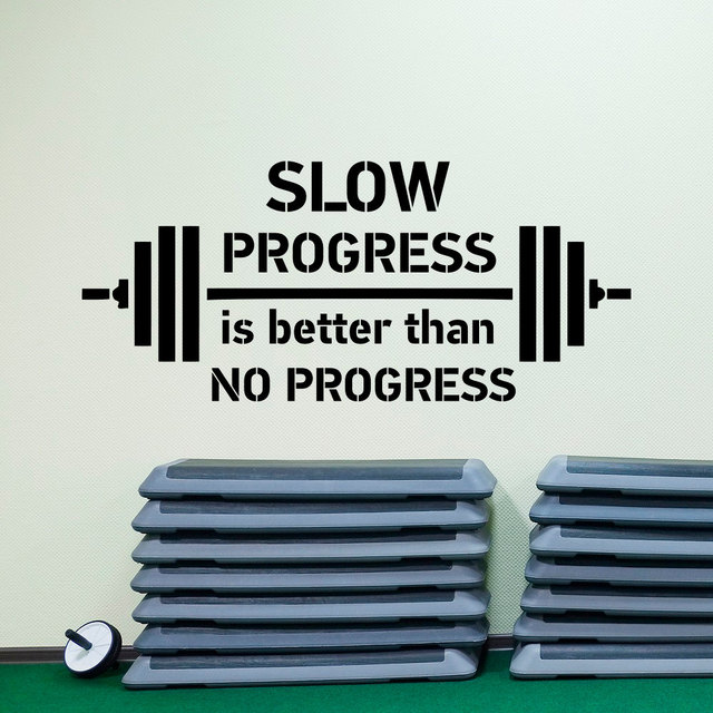 Sports Quote Wall Decal Slow Progress Is Better Than No Progress Gym Best Sports Motivational Quotes