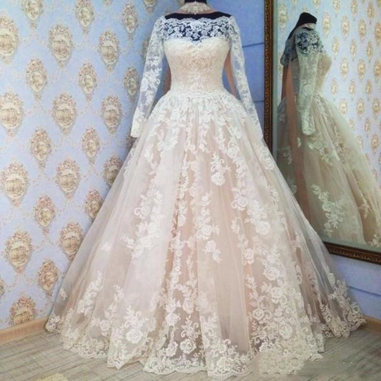 Robe De Mariage Lace Wedding Dresses Long Sleeves Floor Length A Line Bridal Dresses Tulle Off The Shoulder Wedding Gowns