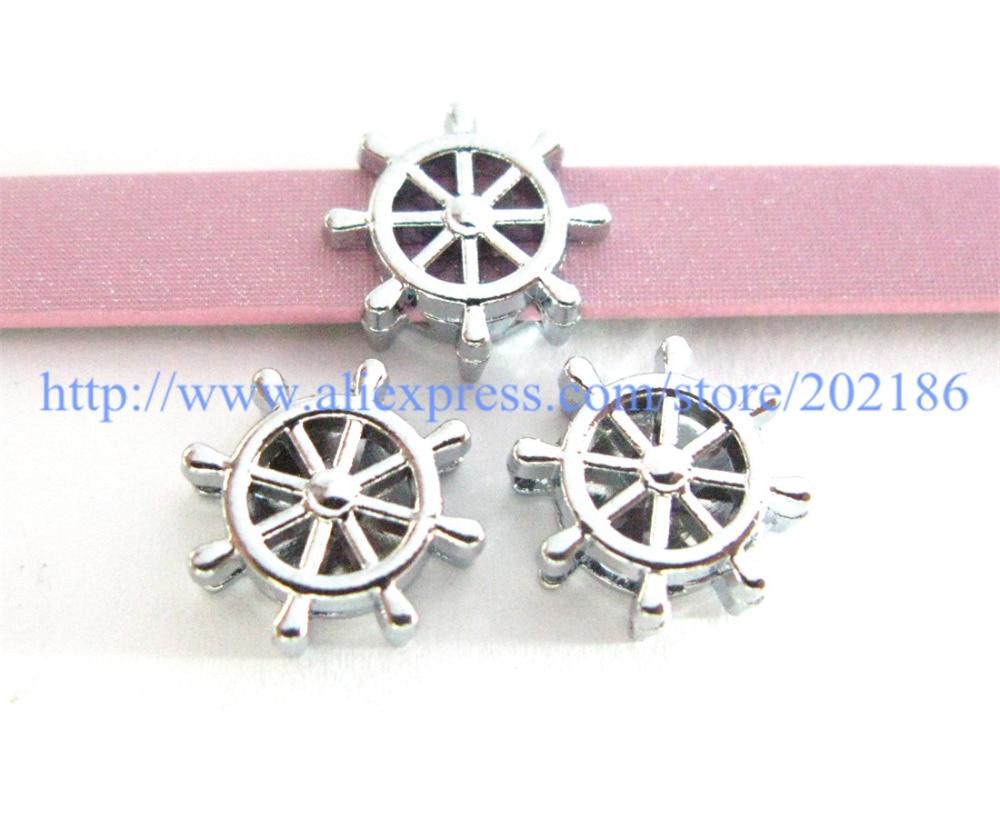 10pcs rudder SL403 Internal Dia.8mm slide Charms Jewelry Finding fit 8mm wristband pet collar key chain