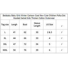 Belababy Baby Girls Coat Winter New Cute Children Polka Dot Hooded Jacket Kids Thicken Cotton Outerwear Cartoon Jackets For Girl