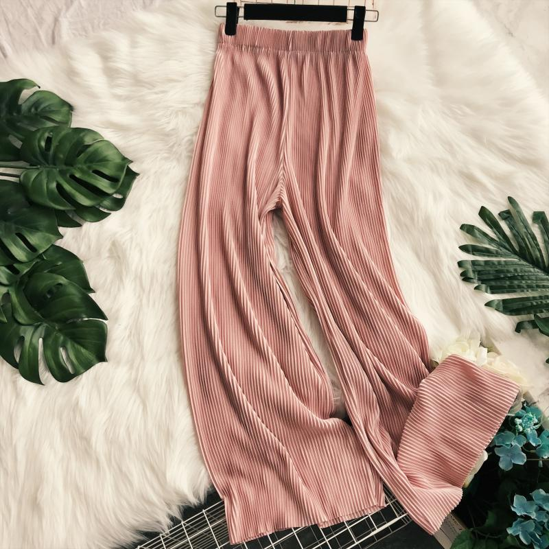 2019 New spring Summer Loose Pleated Flare   Pants   Women Vintage High Waist Trousers Holidy Beach   Wide     legs     Pants   aa836