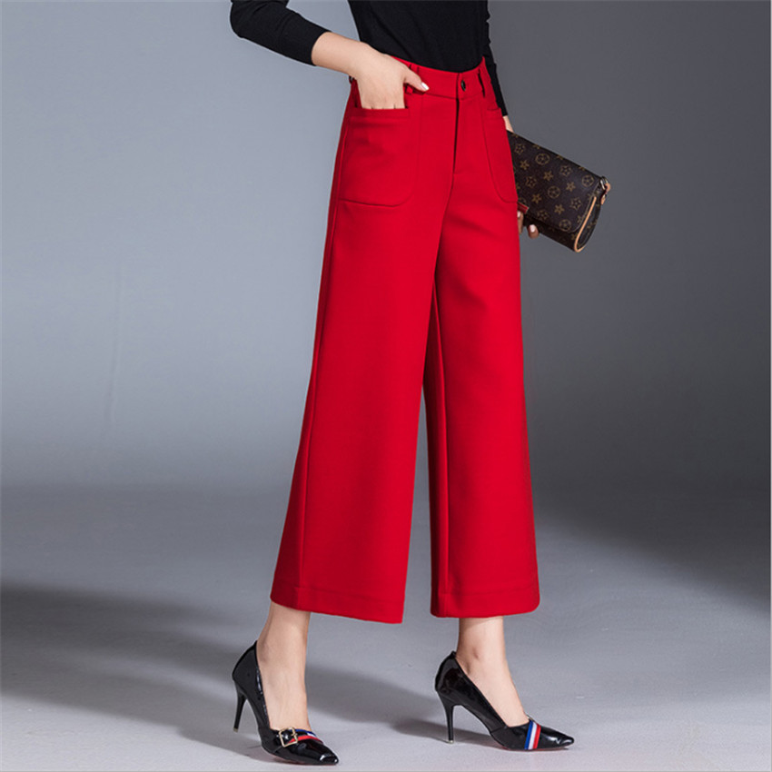 MLCRIYG 2018 Autumn new black high waist broad   leg   big code leisure   wide     leg     pants