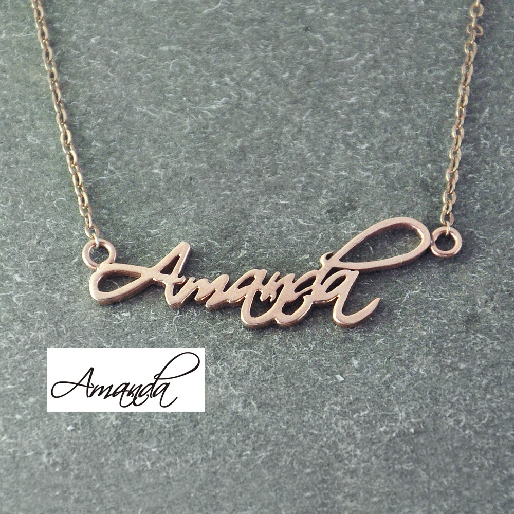 Personalized name necklace signature necklace rose gold color personalized name necklace signature necklace rose gold color necklace custom name name jewelry in pendant necklaces from jewelry accessories on aloadofball Images