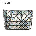 RHYME Fold Over Handbags Crossbody Bag Women Pearl bolso Laser Sac Bags Diamond Lattice Geometry Quilted Shoulder Bag