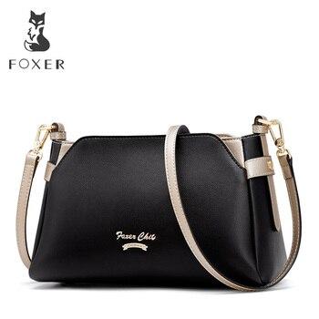 FOXER marca 2019 nuevo diseño mujeres Chic bolso de mensajero de calidad de cuero de mujer bolsa de solapa de oficina mujer moda bolsos de hombro