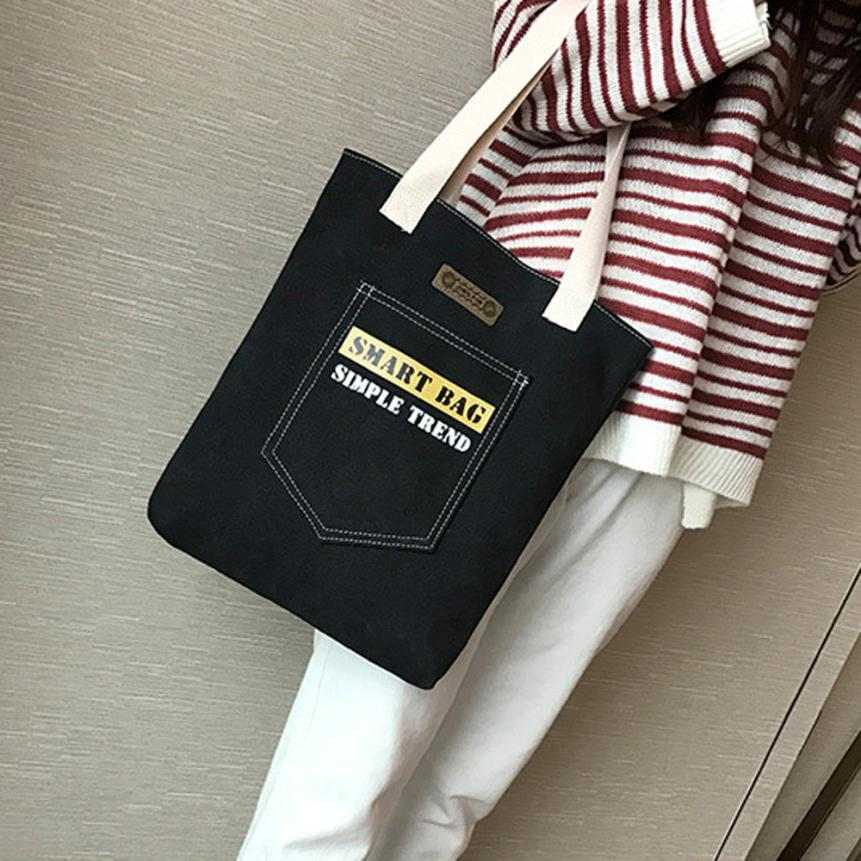 Canvas Handbag Shopping Bag Shoulder Bag Folding Bag Letter Unisex Torebki Damskie Znanych Marek