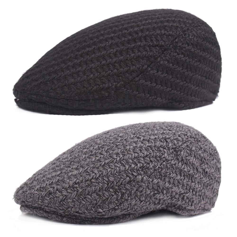 Men Vintage Knitted Winter Cabbie Driving Golf Beret Hat Newsboy Soft Flat Cap HATCS0546