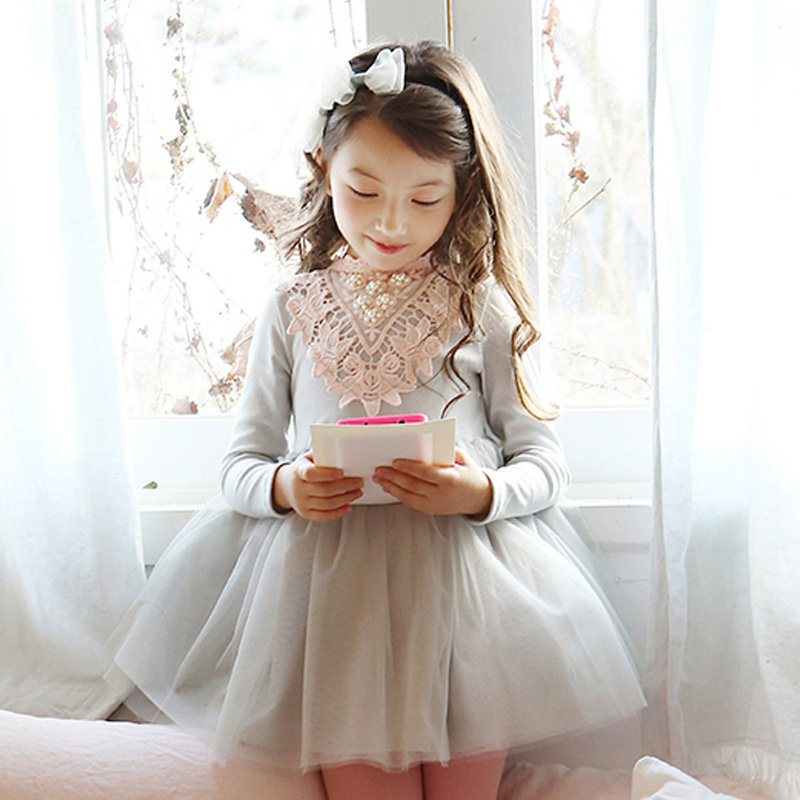 Flower Girls Dress Winter Children Clothing Embroidered Lace Kids Dresses For Girl Kids Baby Princess Party Dress Wedding Autumn